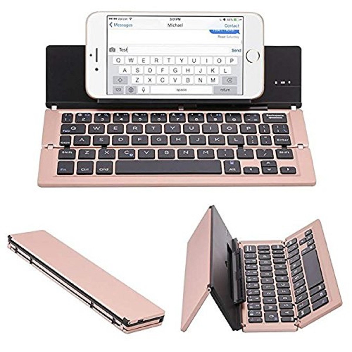 Foldable Wireless Bluetooth Keyboard with Kickstand F18 Rose Gold