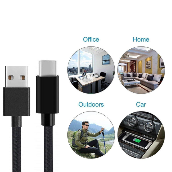 Canvas Fabric Fast Charging Data Cable Black for C Type