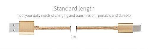 Canvas Fabric Fast Charging Data Cable Golden for C Type