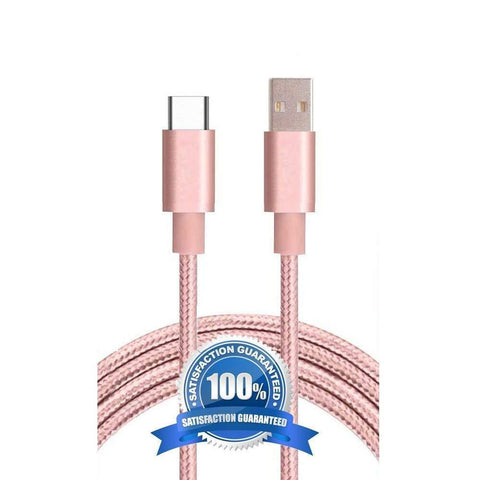 Canvas Fabric Data Fast Charging Micro USB Cable Baby Pink for Android