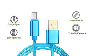 Canvas Fabric Fast Charging Micro usb Data Cable Blue for Android