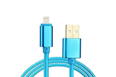 Canvas Fabric Fast Charging Data Cable Blue for Iphone