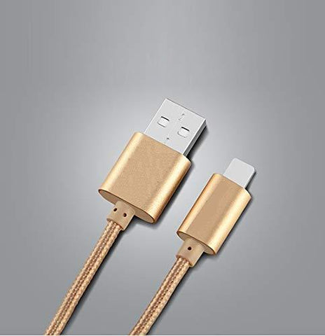 Canvas Fabric Fast Charging Micro USB Data Cable Golden for Android