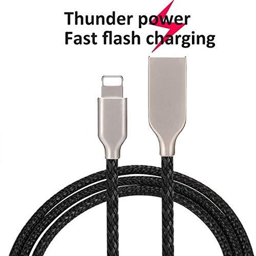 Mesh Plastic Rubber Covered Fast Charging USB Lighting Cable Black for Iphone
