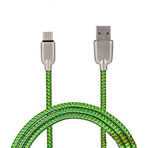 Mesh Plastic Rubber Covered Fast Charging Micro USB Cable Green for Android