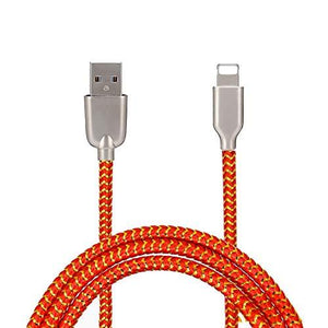 Mesh Plastic Rubber Covered Fast Charging USB Lighting Cable Orange for Iphone