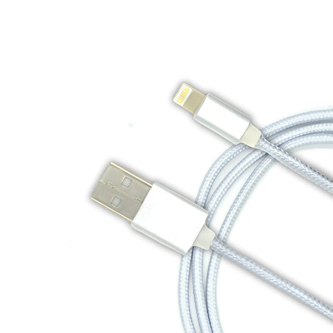 Mesh Plastic Rubber Covered USB Lighting Cable for iphone White