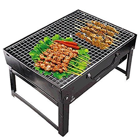 Folding Portable Outdoor Barbeque Charcoal Bbq Grill Oven Black Carbon Steel