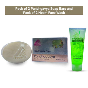 Neoma Aromatherapy Natural Ayurvedic Panchgavya Soap And Neem Face Wash-No Parabens, Sulphate, Silicones & Color (Combo Pack of 2 Each)