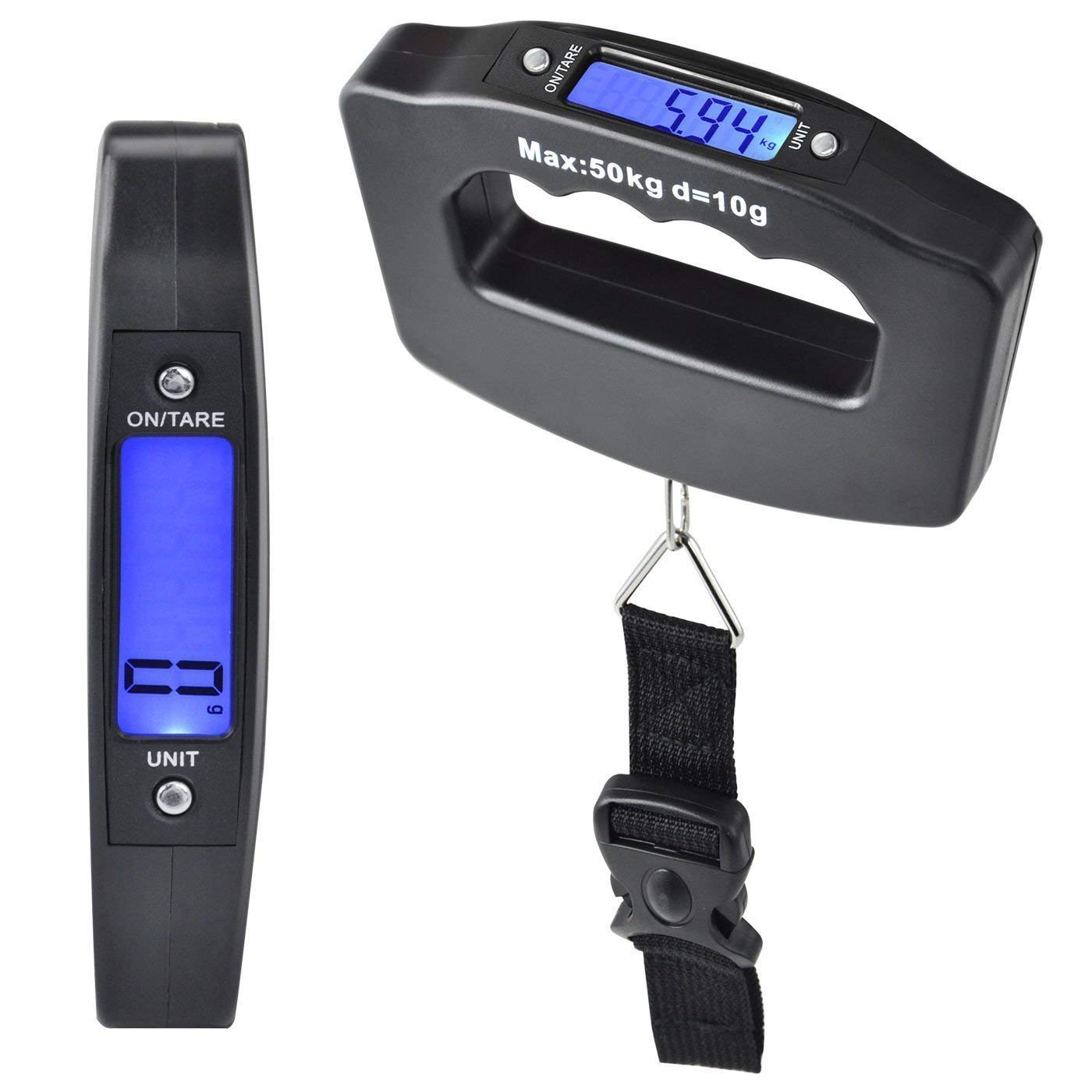 Portable Handheld Digital Heavy Duty Hook Type With Strap Luggage Weighing Scale (50 Kg, Black)