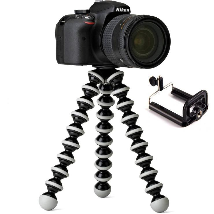 UnTech Flexible Octopus Foldable Tripod for Camera DSLR and Smartphones with Universal Mobile Attachment-White & Black