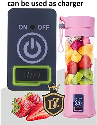 Portable USB Electric Juicer with Sipper Blender 380 ML Juicer Cup with 6 Blades,Power Bank Charge Inbuilt