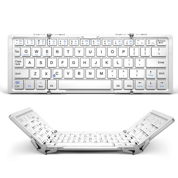 Trifold Pro Ultra Slim Design Bluetooth Aluminium Keyboard White