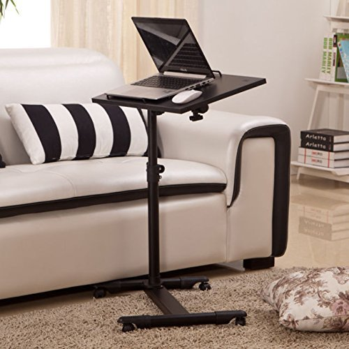 Angle & Height Adjustable Rolling Table Desk Laptop Notebook Stand Tiltable Tabletop Desk Sofa/Bed Side Table Hospital Table Stand W/Lockable Casters