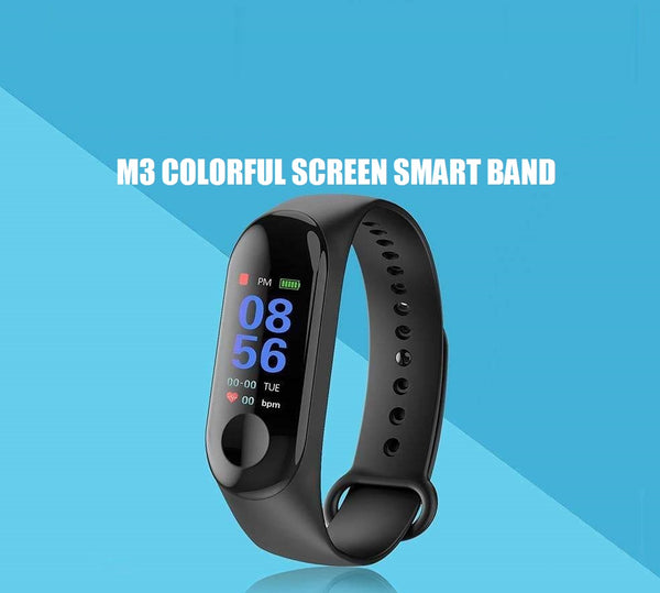 M3 Band Fitness Tracker Watch Heart Rate Activity Tracker with Charging Cable Black