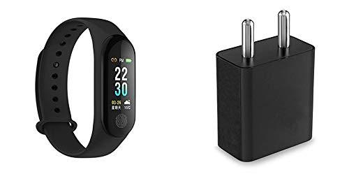 M3 Band Fitness Tracker Watch with OLED DisplayWith Free Charging Adapter Black
