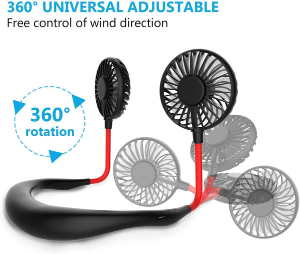 Hand Free Small Personal Mini USB Fan Rechargeable Battery Operated Neck Fan with 3 Speeds