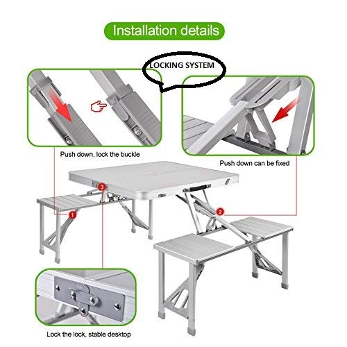 Camping Travel Folding Picnic Table & Chairs Set With Umbrella