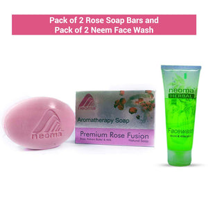 Neoma Aromatherapy Natural Ayurvedic Rose Soap And Neem Face Wash-No Parabens, Sulphate, Silicones & Color (Combo Pack of 2 Each)