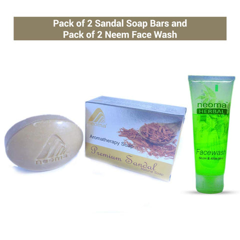 Neoma Aromatherapy Natural Ayurvedic Sandal Soap And Neem Face Wash-No Parabens, Sulphate, Silicones & Color (Combo Pack of 2 Each)