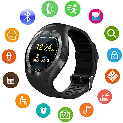 Smart Watch Touch Screen Support Micro SIM Card with Bluetooth Camera Y1 Watch Black