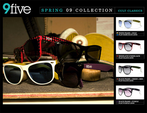 9FIVE Cult Classic Sunglasses stacked on top of a skateboard