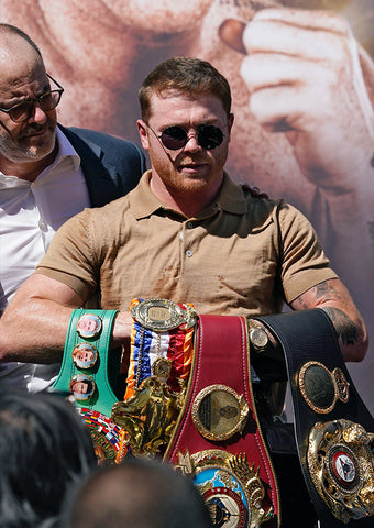 Canelo wearing 9FIVE 50-50 Black and Gold Sunglasses