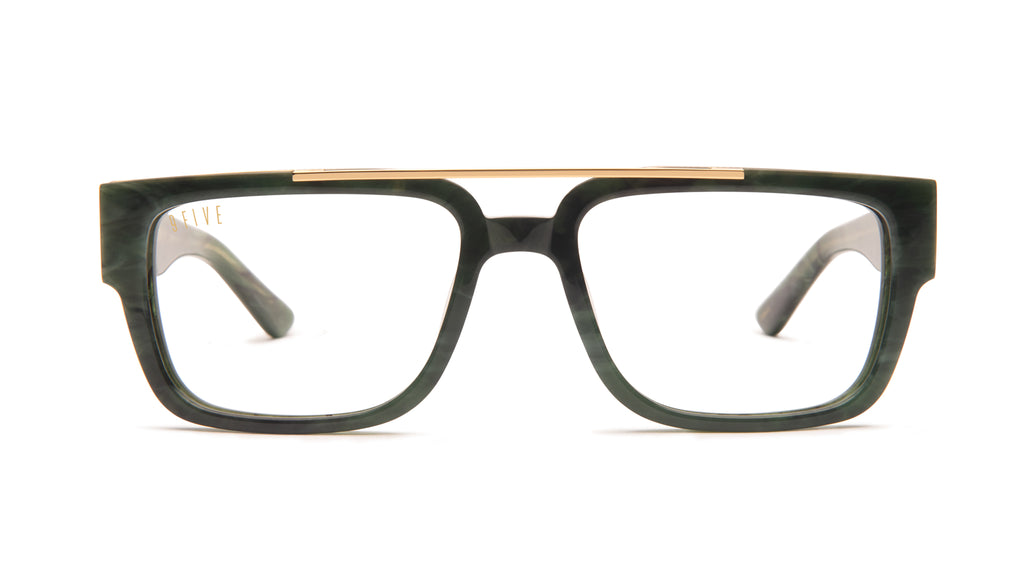 9FIVE 24 Jade Stone & 24k Gold Clear Lens Glasses Rx