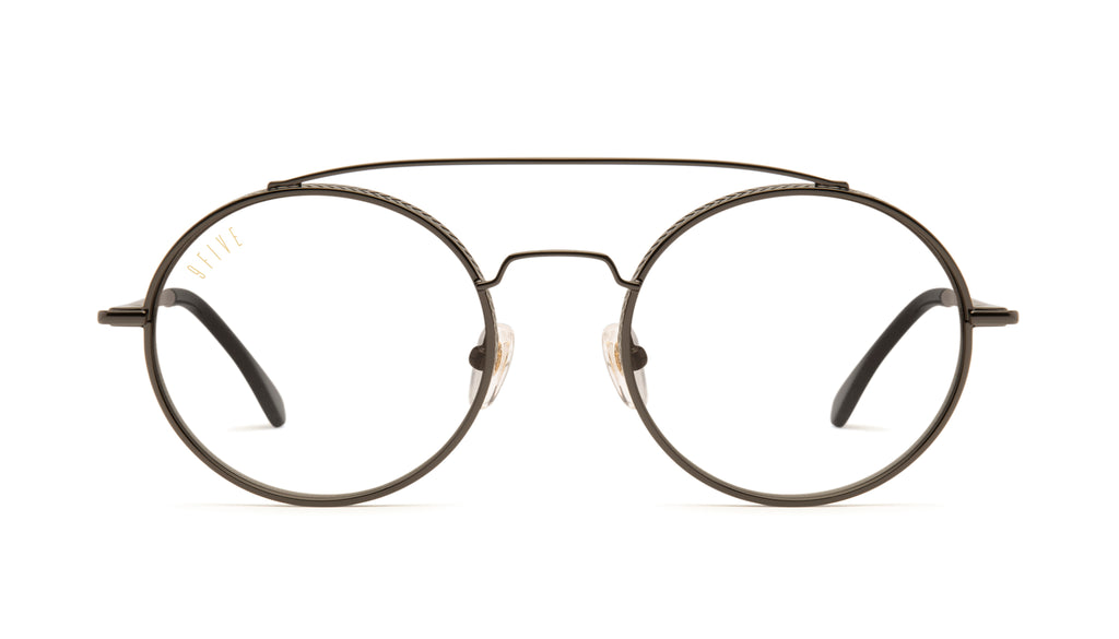9FIVE 50-50 Gun Metal Clear Lens Glasses