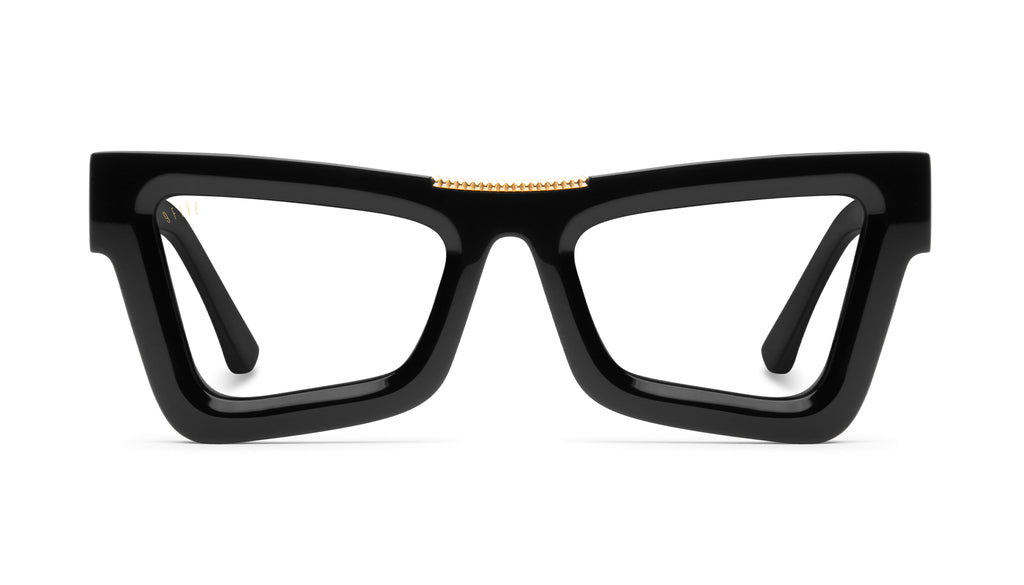 9FIVE Marauder Black & 24k Gold Clear Lens Glasses