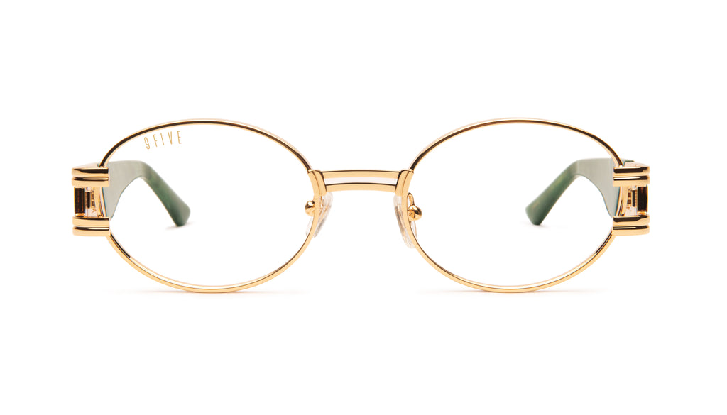 9FIVE St. James Jade Stone & 24K Gold Clear Lens Glasses