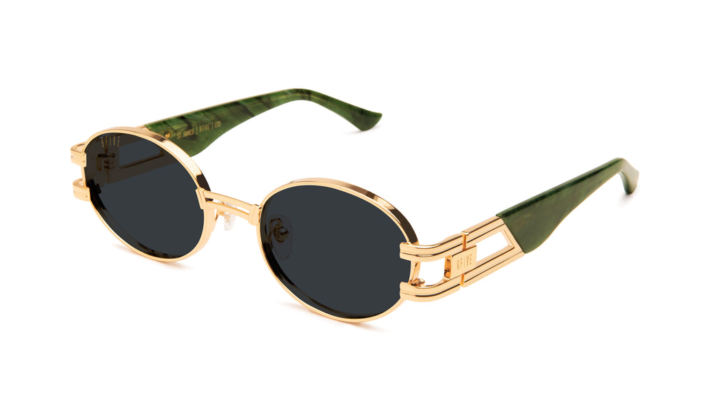 9FIVE St. James Jade Stone & 24k Gold Sunglasses Rx