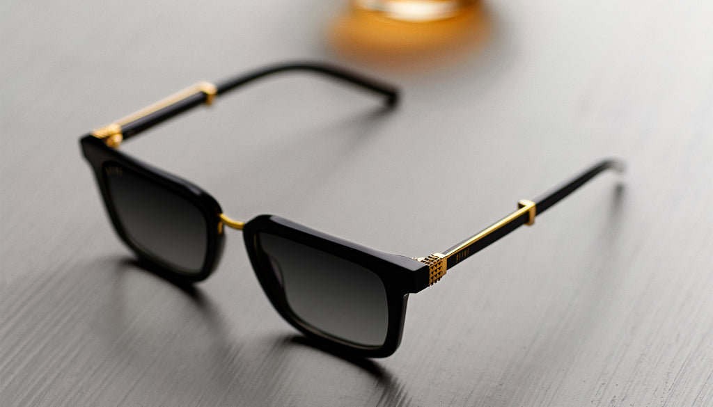9FIVE Bishop Black & 24K Gold Sunglasses Rx