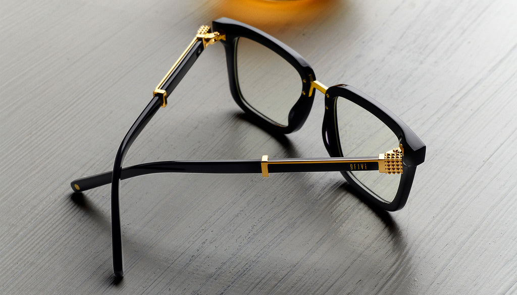 9FIVE Bishop Black & 24K Gold Clear Lens Glasses Rx