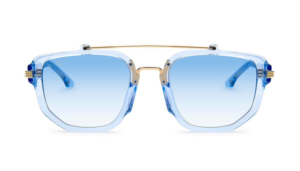 9FIVE Lawrence Crystal Blue & 24k Gold - Blue Gradient Sunglasses