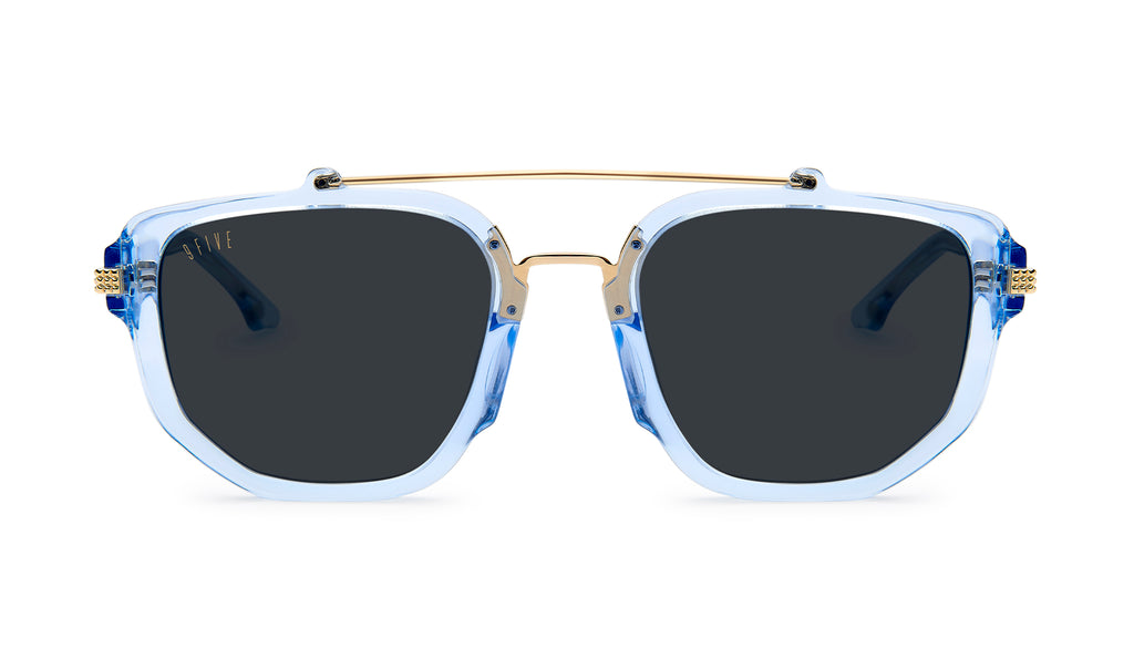 9FIVE Lawrence Crystal Blue & 24k Gold Sunglasses Rx