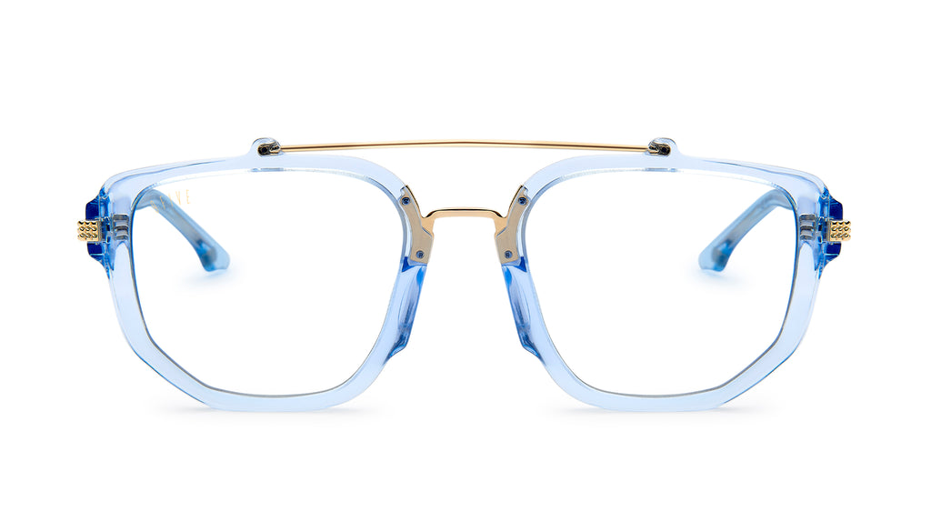 9FIVE Lawrence Crystal Blue & 24K Gold Clear Lens Glasses Rx