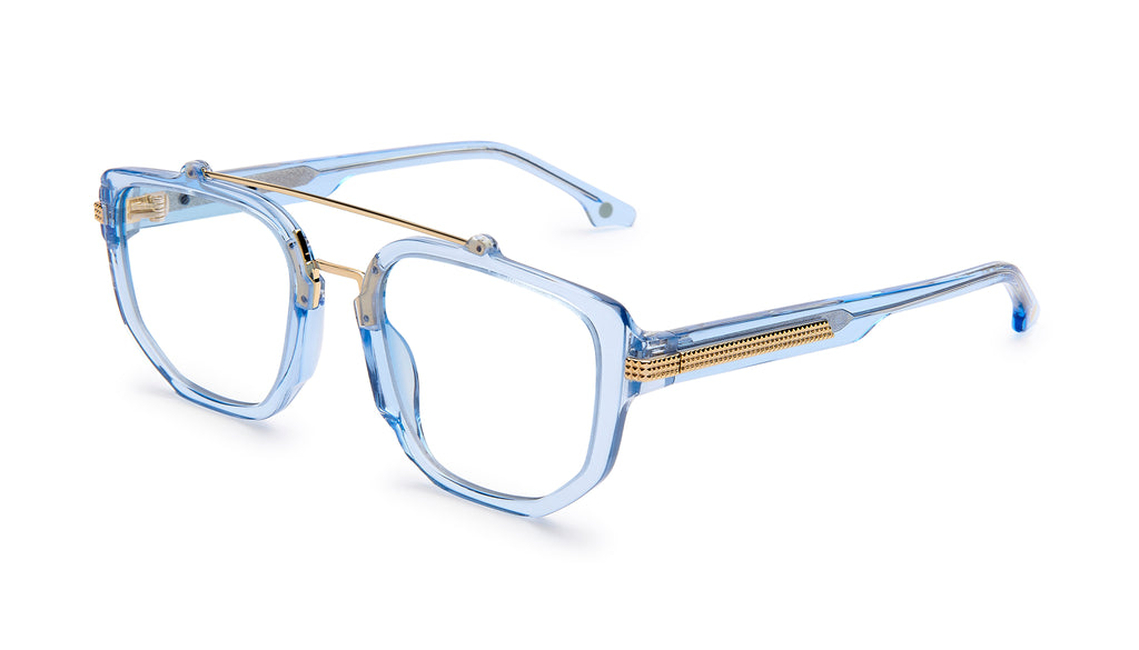 9FIVE Lawrence Crystal Blue & 24k Gold Clear Lens Glasses