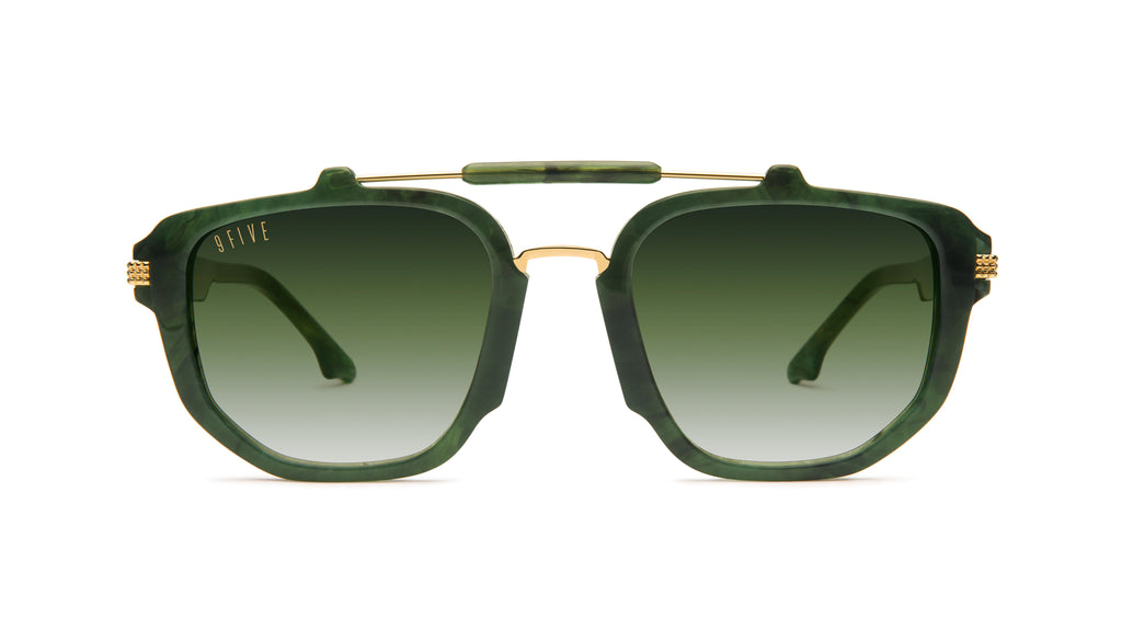 9FIVE Lawrence Jade Stone & 24k Gold - Green Gradient Sunglasses