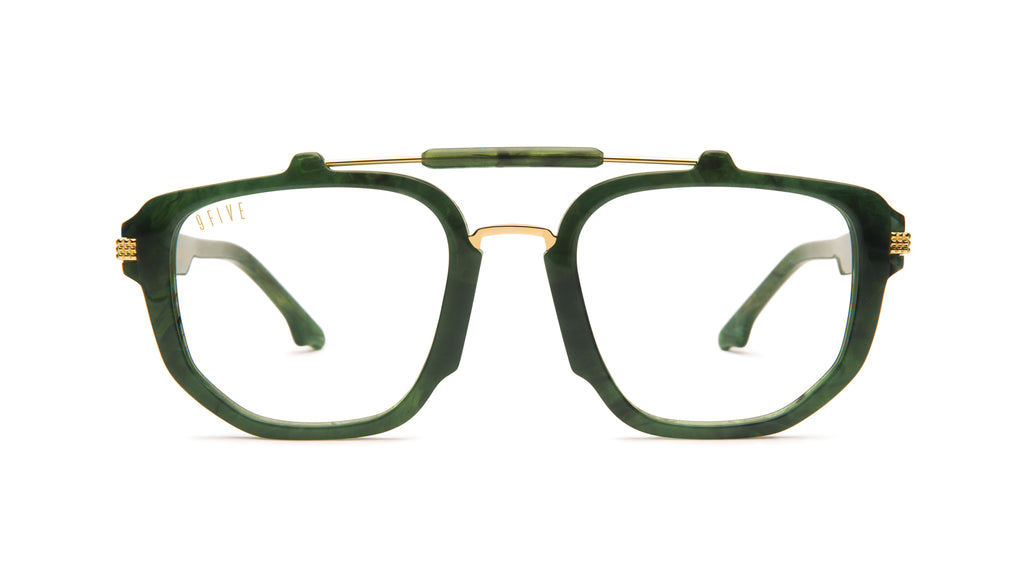 9FIVE Lawrence Jade Stone & 24k Gold Clear Lens Glasses
