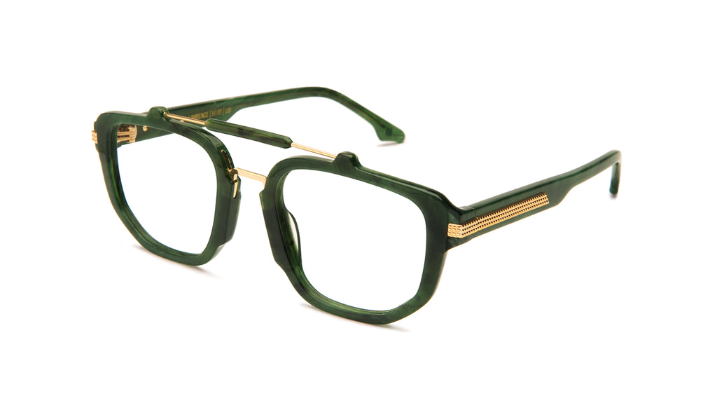 9FIVE Lawrence Jade Stone & 24K Gold Clear Lens Glasses Rx