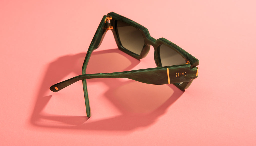 9FIVE Locks Jade Stone & 24K Gold - Green Gradient Sunglasses