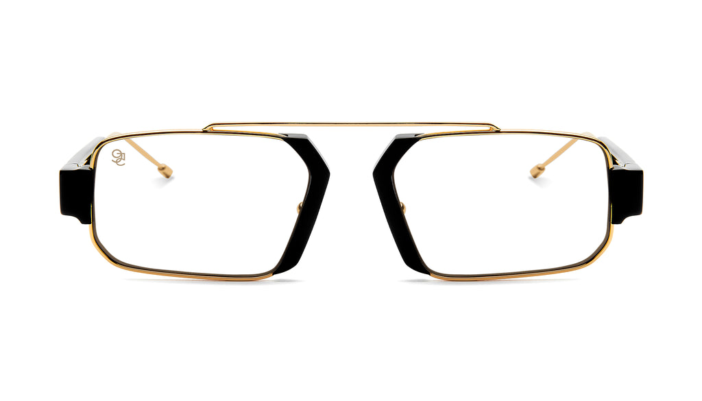9FIVE Logan Black & 24K Gold Clear Lens Glasses Rx