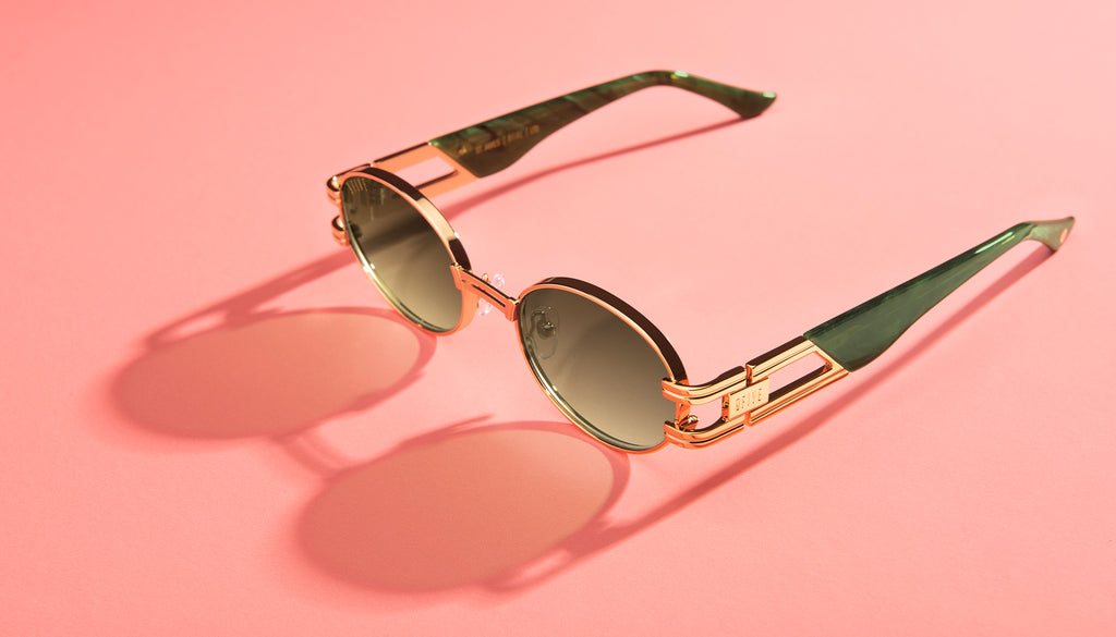 9FIVE St. James Jade Stone & 24K Gold - Green Gradient Sunglasses