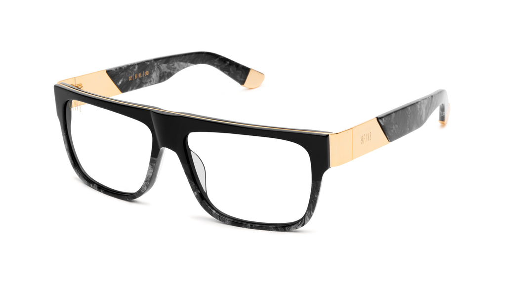 9FIVE 22 Black Marble & 24k Gold Clear Lens Glasses Rx