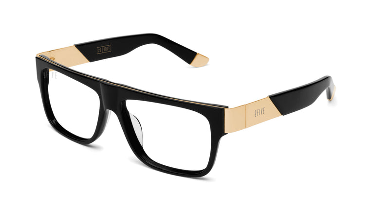 9FIVE 22 Black & 24k Gold Clear Lens Glasses Rx