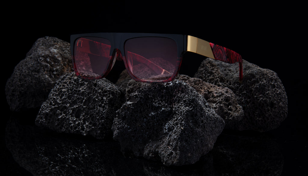 9FIVE 22 Red Marble & 24K Gold - Red Gradient Sunglasses