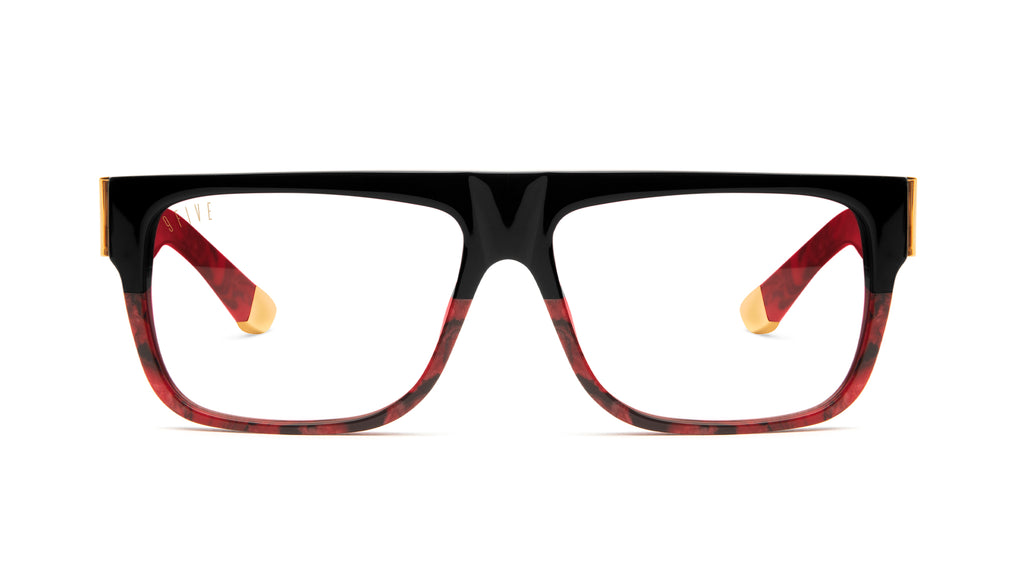 9FIVE 22 Red Marble & 24K Gold Clear Lens Glasses