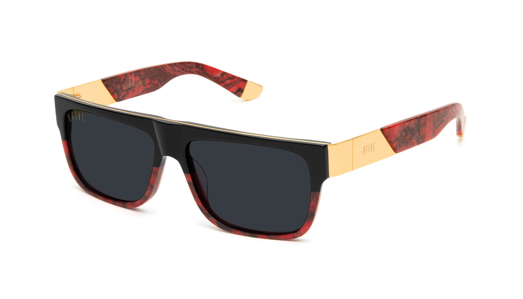 9FIVE 22 Red Marble & 24K Gold Sunglasses