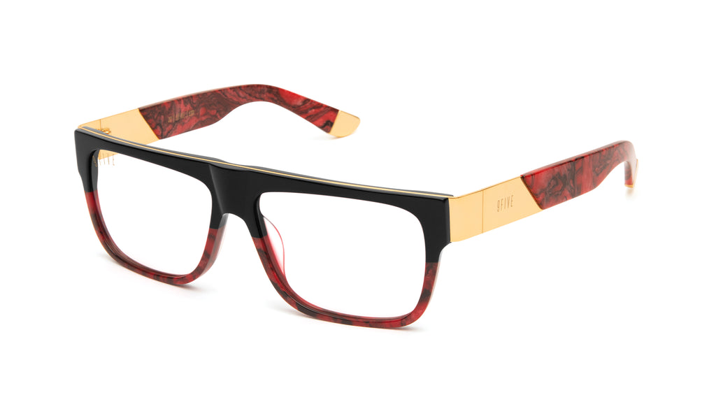 9FIVE 22 Red Marble & 24k Gold Clear Lens Glasses Rx